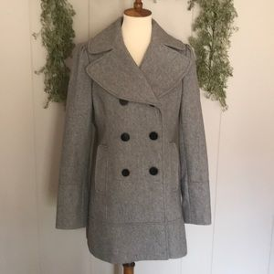 GUESS Wool Double Breasted Grey Pea Coat Jacket L